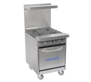 "Bakers Pride Restaurant Series Range, 24"", 4 Burners 24-BP-4B-S20"