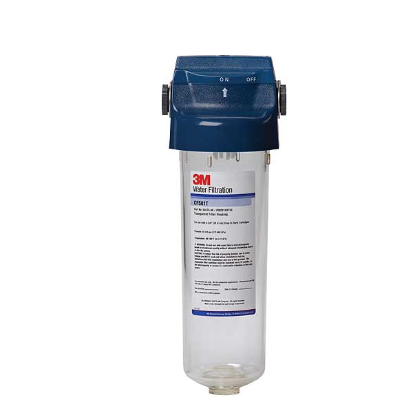 3M (5557506) BCI-Flexible System Water Filter Housing (1) Transparent Housing With Built-in Valve-in-head Fits 9-3/4 Inch  Cartridge - CFS01T