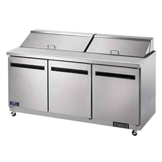 Arctic Air Refrigerated Sandwich/Salad Prep Table, 3 Doors, 18 Cu. Ft. - AST72R
