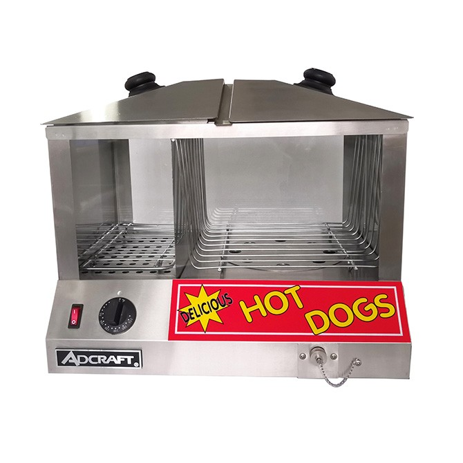 Adcraft Commercial Hot Dog Steamer and Bun Warmer - HDS-1300W/100