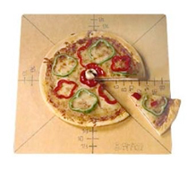 American Metalcraft Pizza Slice Cutting Board With Guide, 6 Slice