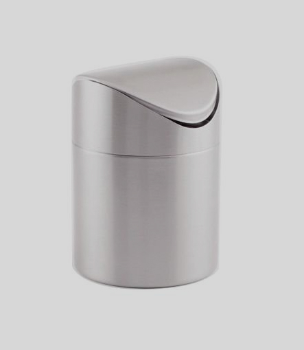 American Metalcraft Stainless Steel Tabletop Waste Bin With Swing Lid - TIM1