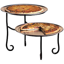 American Metalcraft Two-Tier Black Wrought Iron Pizza Stand - TLSP1219