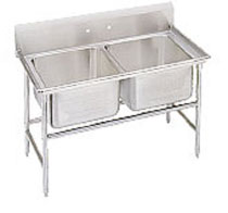 Advance Tabco Regaline Two Compartment Sink, No Drainboards, 20 x 16 Bowl