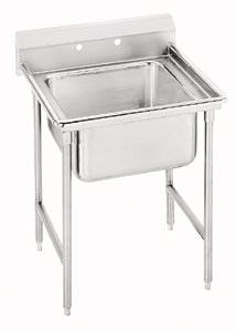 Stainless 1 Compartment Pot Sink no Drainboards - Heavy Duty