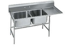 Advance Tabco Regaline Two Compartment Sink, 18 Inch Drainboard