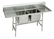 Advance Tabco Regaline Two Compartment Sink with Left And Right Drainboards