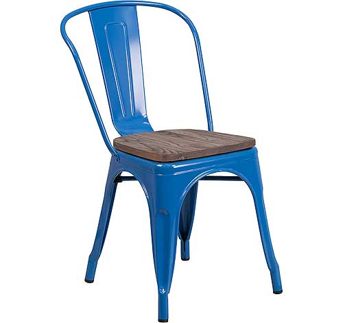 Flash Furniture Metal Chairs with Wood Seats