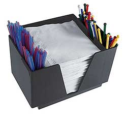 Square Bar Caddy with Compartments for Stirs, Straws,Napkins