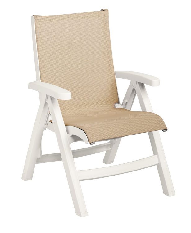 Grosfillex Belize Midback Folding Chair CT352004, Khaki With White Frame, Set of 2