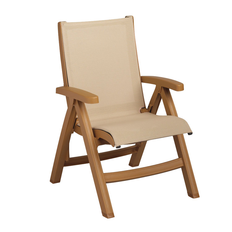 Grosfillex Belize Midback Folding Chair US352008, Kahki With Teakwood Frame, Set of 2