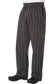 Chef Works Designer Baggy Chef Pants, Chalk Stripe