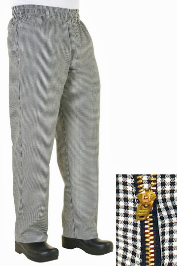 Small Check Basic Baggy Chef Pants With Zipper Fly