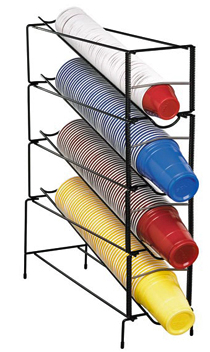 Dispense-Rite 4 Section Vertical Wire Rack Cup Dispenser/Organizer