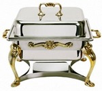 Queen Anne 4 Quart Silver Plated Chafer - Silver or Stainless Steel