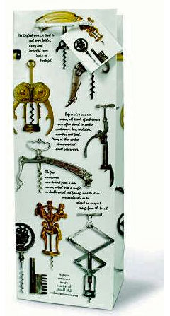 Antique Corkscrews Wine Bottle Gift Bags, One Dozen