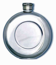 Round Pocket Flask, Stainless Steel