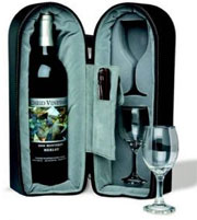 Wine Travel Case With Corkscrew and Stopper - 8427-BX