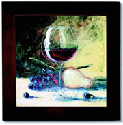 Ceramic Trivet, Wine Glass and Fruit Art Image
