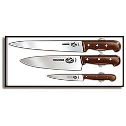 Victorinox Swiss Army 3 Piece Chef's Knife Box Set, Rosewood Handle