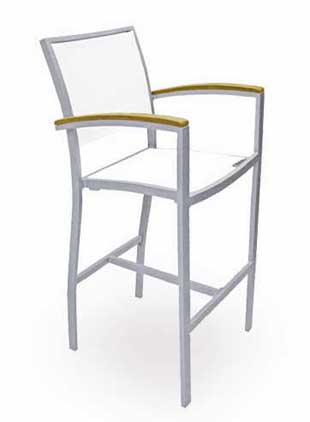 Florida Seating Outdoor Barstool BAL-5624 With Silver Frame