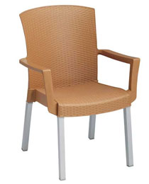 Grosfillex Havana Wicker Stacking Arm Chair