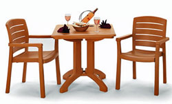 Grosfillex Teakwood Acadia Dining Set