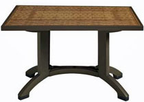 Grosfillex Havana 48 x 32 Inch Pedestal Outdoor Table