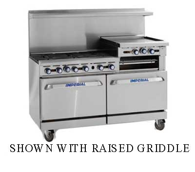 "Imperial Range Restaurant Range Gas 60"" With Griddle - IR-6-G24"