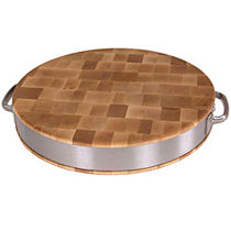 John Boos Maple Cutting Board With Stainless Steel Accents