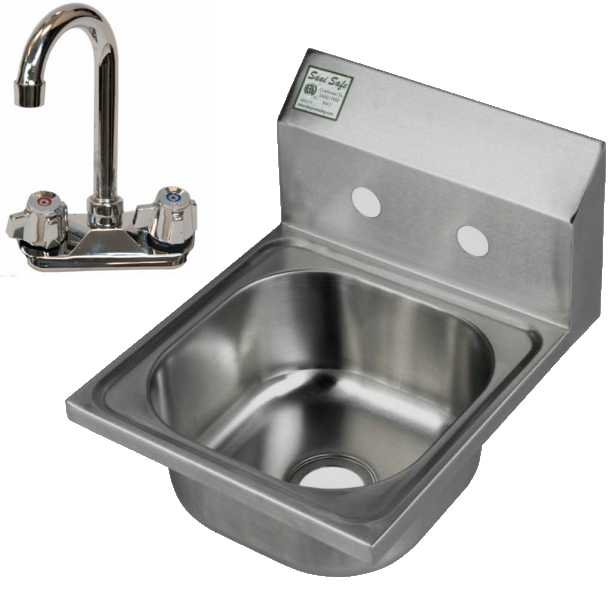 Klinger Wall Mount Hand Sink, Complete With Goose Neck Faucet & Basket Drain - HS-1000