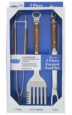 3 Piece Forged Stainless Steel Tool Set With Rosewood Handles