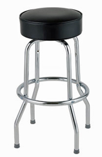 Backless Swivel Bar Stool, Black Vinyl, Set of 4