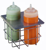 Twin Unit Squeeze Bottle And Holder