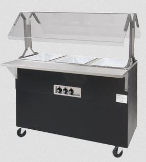 Supreme Metal Triumph Portable Hot Food Buffet Table, Black vinyl clad finish, Solid base - B2-120-B-S-SB