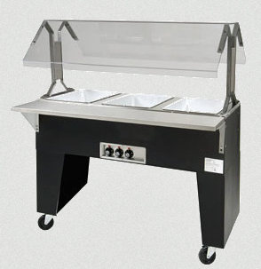 Supreme Metal Triumph Portable Hot Food Buffet Table, Black vinyl clad finish, Open base - B2-120-B-S