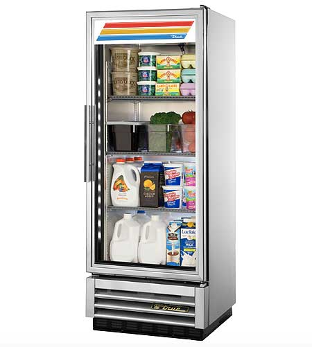 True Stainless Steel Glass Door Refrigerator T-12G