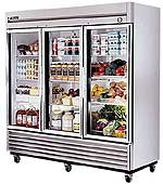 True Stainless Steel Glass Door Refrigerator T-72G