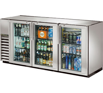 True Compact Three Section Glass Door Back Bar Cooler, Stainless Steel
