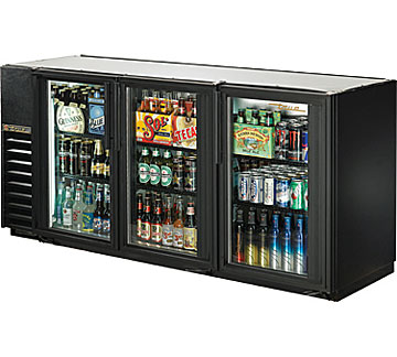 "True Back Bar Cooler, 24""D, 3-Section, Glass Doors"