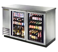TRUE Back Bar Cooler, 2-Section, Glass Doors, Stainless Steel, 88 Six-Pack Capacity