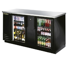TRUE Back Bar Cooler, 3-Section, Glass Doors, 112 Six-Pack Capacity
