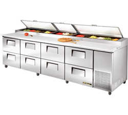 True Pizza Prep Table TPP-119D-8 - 8 Drawers