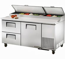 Refrigerated Pizza Prep Table TPP-67D-2 With 2 Drawers