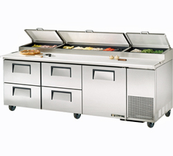 Pizza Prep Table Refrigerator TPP-93D-4 - 4 Drawers