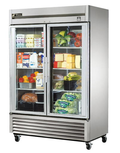 True Stainless Steel Glass Two Door Refrigerator - TS-49G-HC~FGD01
