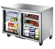 True Undercounter 2 Glass Door Refrigerator - 12 Cu. Ft.