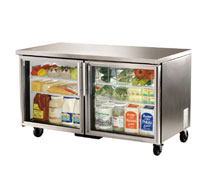 True Undercounter 2 Glass Door Refrigerator - 15.5 Cu. Ft.