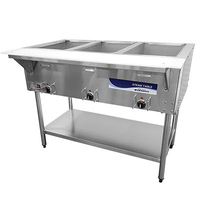 Radiance Electric Hot Food Steam Table Serving Counter - 3 Wells - RST-3P
