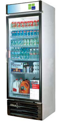 Turbo Air Glass Door Refrigerator - 1 Swinging Door, 22 Cu. Ft.
